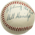 Autographs:Baseballs, Will Harridge Signed Baseball with Mike Fornieles. While thevintage OAL (Harridge) baseball that we present here has been...