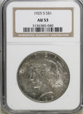 Peace Dollars: , 1925-S $1 AU53 NGC. NGC Census: (64/3610). PCGS Population(46/4931). Mintage: 1,610,000. Numismedia Wsl. Price for NGC/PCG...