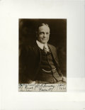 Autographs:Photos, 1921 Billy Sunday Signed Photograph Inscribed to Edd Roush. BillySunday took an odd path to notoriety, becoming one of the ...