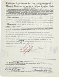 Autographs:Others, 1951 Signed Contracts and Letters with Branch Rickey. Threeprominent baseball execs from the have signed here this collect...