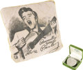 "Music Memorabilia:Memorabilia, Elvis Presley Vintage Necklace and Pillow. A vintage necklace withheart-shaped Elvis Presley ""Love Me Tender"" medallion (Ve...(Total: 1 Item)"