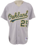 Baseball Collectibles:Uniforms, 1994 Mark McGwire Game Worn Jersey. Tough patch style makes this road grey Oakland A's jersey a hot commodity even without ...