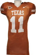 Football Collectibles:Balls, 2005 Ramonce Taylor Game Worn Jersey. Burnt orange gamer was worn by the Texas Longhorns star running back during the glori...