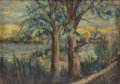 Fine Art - Painting, American:Antique  (Pre 1900), THEODORE ROBINSON (American, 1852-1896). Landscape Sketch.Pastel on cardboard. 6 x 8 inches (15.2 x 20.3 cm). Signed lo...