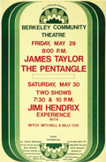 Music Memorabilia:Posters, Jimi Hendrix Experience/James Taylor Berkeley Community TheatreConcert Poster (Bill Graham, 1970). One of Jimi Hendrix's la...(Total: 1 Item)