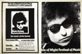 Music Memorabilia:Posters, Bob Dylan Isle of Wight Event Poster (1969). Approximately 150,000 people attended the second Isle of Wight music festival o... (Total: 1 Item)