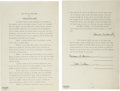 """Movie/TV Memorabilia:Autographs and Signed Items, Oliver Hardy's Signed Last Will, 1957. This two-page Last Will andTestament is signed in black ink """"Oliver N. Hardy,"""" (the ...(Total: 1 Item)"""