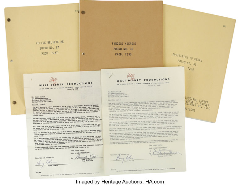 Henry Calvin Signed Documents and Three Zorro TV Scripts