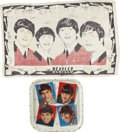 """Music Memorabilia:Recordings, Beatles Tray and Wall Tapestry (1964). A vintage 13"""" x 13"""" Beatlesportrait tray, cast in metal by Worcester Ware, England, ...(Total: 2 Item)"""