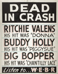 "Music Memorabilia:Posters, Buddy Holly, Ritchie Valens, Big Bopper ""Dead in Crash""Hand-Lettered Poster (1959). February 3, 1959 -- the ""Day theMusic... (Total: 1 Item)"