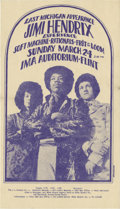 Music Memorabilia:Posters, Jimi Hendrix Experience IMA Auditorium, Flint Michigan ConcertPostcard (1968). Artist Gary Grimshaw designed this blue on w...(Total: 1 Item)