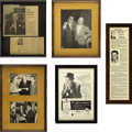 Movie/TV Memorabilia:Photos, Beverly Hills CENSORED Club Miscellaneous Framed Items. Set of five b&w framed items from the early days of the Beverly Hill... (Total: 1 Item)