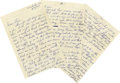 Music Memorabilia:Autographs and Signed Items, Patsy Cline Six-Page Handwritten Letter. An astounding, six-pageletter handwritten by the legendary Country music singer at...(Total: 1 Item)