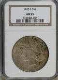 Peace Dollars: , 1925-S $1 AU53 NGC. NGC Census: (63/3617). PCGS Population(24/4903). Mintage: 1,610,000. Numismedia Wsl. Price for NGC/PCG...