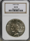 Peace Dollars: , 1925-S $1 AU50 NGC. NGC Census: (49/3680). PCGS Population(26/4927). Mintage: 1,610,000. Numismedia Wsl. Price for NGC/PCG...