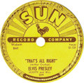 """Music Memorabilia:Recordings, Elvis Presley """"That's All Right"""" 78 (Sun 209, 1954). It all started here -- Elvis' first single release, considered by many ... (Total: 1 Item)"""