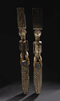 African: , Tsogo (Gabon). Male and Female Cult House Posts. Wood, pigment, nails; ca. 1940-1960. Male: Height: 64 ¼ inches Width: 6 ½ ...