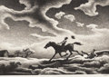 Paintings, THOMAS HART BENTON (American 1889-1975). Spring Tryout, 1943. Lithograph. 9-3/8 x 13-5/8 inches (23.81 x 34.60 cm). Ed. ...