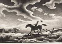 THOMAS HART BENTON (American 1889-1975) Spring Tryout, 1943 Lithograph 9-3/8 x 13-5/8 inches (23.81 x 34.60 cm) Ed