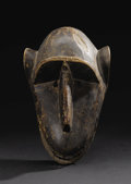 African: , Bamana (Mali). Monkey Mask, probably from the Kore Society.Wood, metal. Height: 12 1/8 in. Width: 7 inches Depth: 6 ...
