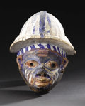 African: , Yoruba (Nigeria). Gelede Mask. Wood, pigment. Height: 13 7/8 inches Width: 10 inches. Facial features on this polychr...