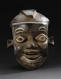 African: , Grasslands Kingdom, perhaps Kom, (Cameroon). Helmet Mask. Wood,pigment, copper. Height: 15 ½ inches Width: 12 inches Dept...