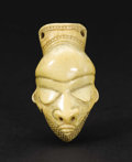 African: , Pende (Democratic Republic of Congo). Pendant Head, Ghikhokho. Ivory. Height: 3 inches Width: 1 5/8 inches Depth: 7/8 ...