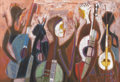 Texas:Early Texas Art - Modernists, WILLIAM LESTER (1910-1991). Musicians, 1959. Oil on linen.30in. x 44in.. Signed and titled verso. A modernist depicti...