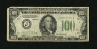 Fr. 2152-J* $100 1934 Federal Reserve Star Note. Very Good. Numerous pinholes dot the surface of this tough KC replaceme...