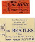 Music Memorabilia:Tickets, Beatles 1964 and 1966 Concert Tickets. Included are stubs for theBeatles' August 30, 1964 concert at the Atlantic City Conv...(Total: 1 Item)