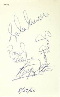 Beatles' Autographs on Elvis' Personal Stationery - August 27, 1965. Iconic is an understatement! It was August 27, 1965...