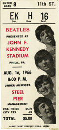 Music Memorabilia:Tickets, Beatles JFK Stadium Concert Ticket Stub, 1966. Twenty-one thousandpeople attended this August 16, 1966 performance in Phila...(Total: 1 Item)