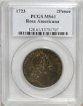 Colonials: , 1723 2PENCE Rosa Americana Twopence MS61 Brown PCGS. PCGSPopulation (3/15). (#128)...