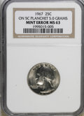 Errors, 1967 25C Washington Quarter On 5C Planchet 5.0 Grams MS63 NGC. ...