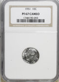 Proof Roosevelt Dimes, 1951 10C PR67 Cameo NGC. NGC Census: (149/84). PCGS Population(93/6). Numismedia Wsl. Price for NGC/PCGS coin in PR67: $1...