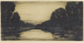 Prints:European Modern, DAVID YOUNG CAMERON (British, 1865-1945). Still Waters.Etching on Japan paper. 6 x 12-1/8 inches (15.2 x 30.8 cm). Init...