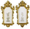 Furniture : Continental, A PAIR OF ITALIAN ROCOCO-STYLE GILT WOOD REVERSE-ETCHED MIRRORS.19th Century. 39-1/2 inches (100.3 cm) high, each. ... (Total: 2Items)