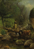 Paintings, SAMUEL LANCASTER GERRY (American, 1813-1891). Crossing the Creek. Oil on canvas. 20 x 14 inches (50.8 x 35.6 cm). Signed...