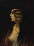 Paintings, CONTINENTAL SCHOOL (19th Century). Portrait of an Egyptian Woman. Oil on canvas. 23 x 18 inches (58.4 x 45.7 cm). Signed...
