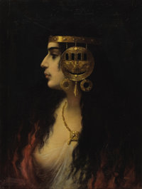 CONTINENTAL SCHOOL (19th Century) Portrait of an Egyptian Woman Oil on canvas 23 x 18 inches (58