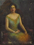 Fine Art - Painting, American:Modern  (1900 1949)  , NICHOLAS RICHARD BREWER (American, 1857-1949). Portrait of aLady with Necklace and Ostrich Feathers, circa 1920s. Oil o...