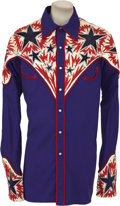 Music Memorabilia:Costumes, Ray Benson's Custom Shirt and Boots. A royal blue Western shirtwith red, white, and blue yokes and five-button shotgun cuff...(Total: 1 Item)