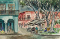 Fine Art - Painting, American:Contemporary   (1950 to present)  , ALICE STEPHENSON NAYLOR (American, 1892-1974). Oaxaca,Mexico. Watercolor on paper. 14 x 21-1/2 inches (35.6 x 54.6cm)...