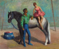 Fine Art - Painting, American:Contemporary   (1950 to present)  , LESLIE LARSSON (American, 1913-1970). Circus Performers, 1960. Oil on masonite. 22 x 26-1/2 inches (55.9 x 67.3 cm). Sig...