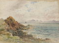 Fine Art - Painting, European, JAMES BAYNE. View of Edinburgh from Burntisland. Watercolor on drawing board. 10-1/2 x 14-1/2 inches (26.7 x 36.8 cm). S...