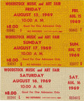 Music Memorabilia:Tickets, Woodstock Three Unused Tickets. Three pristine, unused tickets fromthe music festival that changed the world, one for each ... (Total:1 Item)