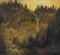 American:Hudson River School, Attributed to HERMAN HERZOG (German/American, 1831-1932).Mountain Landscape with Waterfall. Oil on composite board.12-...