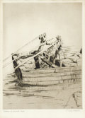 Prints:American, PHILIP KAPPEL (American, 1901-1981). Boatmen at Jacmel - Haiti. Etching. 8 x 6 inches (20.3 x 15.2 cm). Initialed in pla...