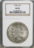 Peace Dollars: , 1928-S $1 AU50 NGC. NGC Census: (62/3445). PCGS Population(53/4706). Mintage: 1,632,000. Numismedia Wsl. Price for NGC/PCG...