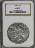 Peace Dollars, 1927 $1 AU55 NGC. NGC Census: (35/3021). PCGS Population(118/4714). Mintage: 848,000. Numismedia Wsl. Price for NGC/PCGSc...